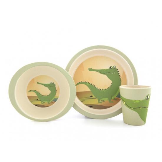 Yuunaa bambusz gyerek étkészlet - krokodil