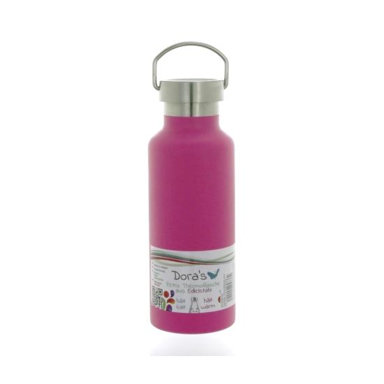 DORAS retro termosz mozgatható füllel, 500ml, rózsaszín, rozsdamentes acél