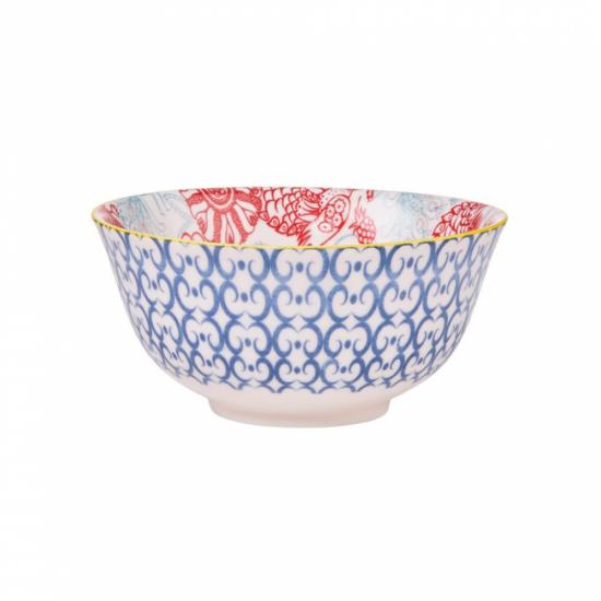 ORNAMENTS tálka kék mintás/ piros virágok 520ml
