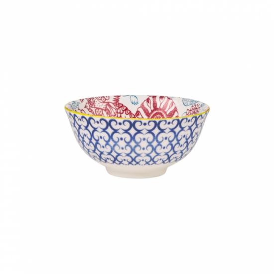 ORNAMENTS tálka kék mintás/ piros virágok 240ml