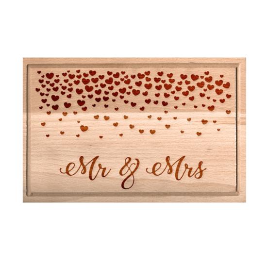 Mr. és Mrs. szívecskés vágódeszka - nagy