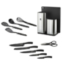 Kép 4/6 - Berlinger Haus 12 részes kés-és konyhai eszköz készlet állvánnyal és vágódeszkával, fekete-ezüst