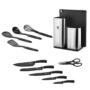 Kép 3/6 - Berlinger Haus 12 részes kés-és konyhai eszköz készlet állvánnyal és vágódeszkával, fekete-ezüst