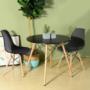 Kép 1/4 - 4 db modern étkezőszék asztallal - fekete