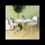 Kép 3/4 - 4 db modern étkezőszék asztallal - fehér