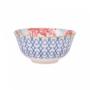 Kép 4/6 - ORNAMENTS tálka kék mintás/ piros virágok 520ml